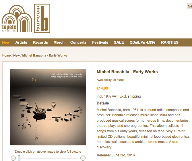 Michel Banabila - Early Works - Bureau B - Tapete Records